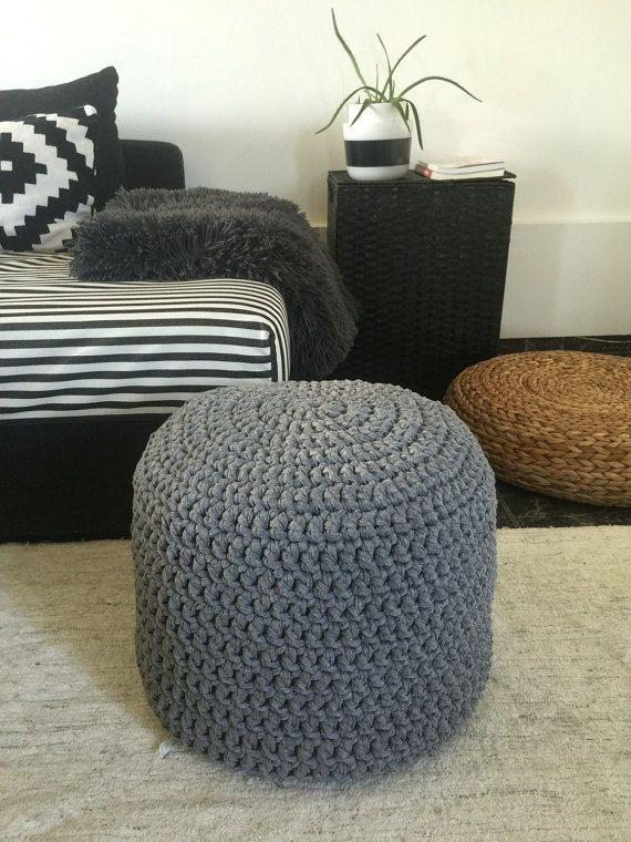 Large Pouf Ottoman Adorable Grey Large Pouf Ottoman Nursery Footstool Crochet Pouffe Knit