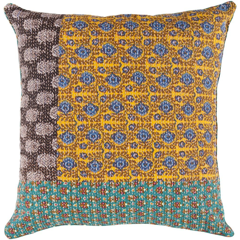 Gold teal and mocha kheta pillow by surya seven colonial