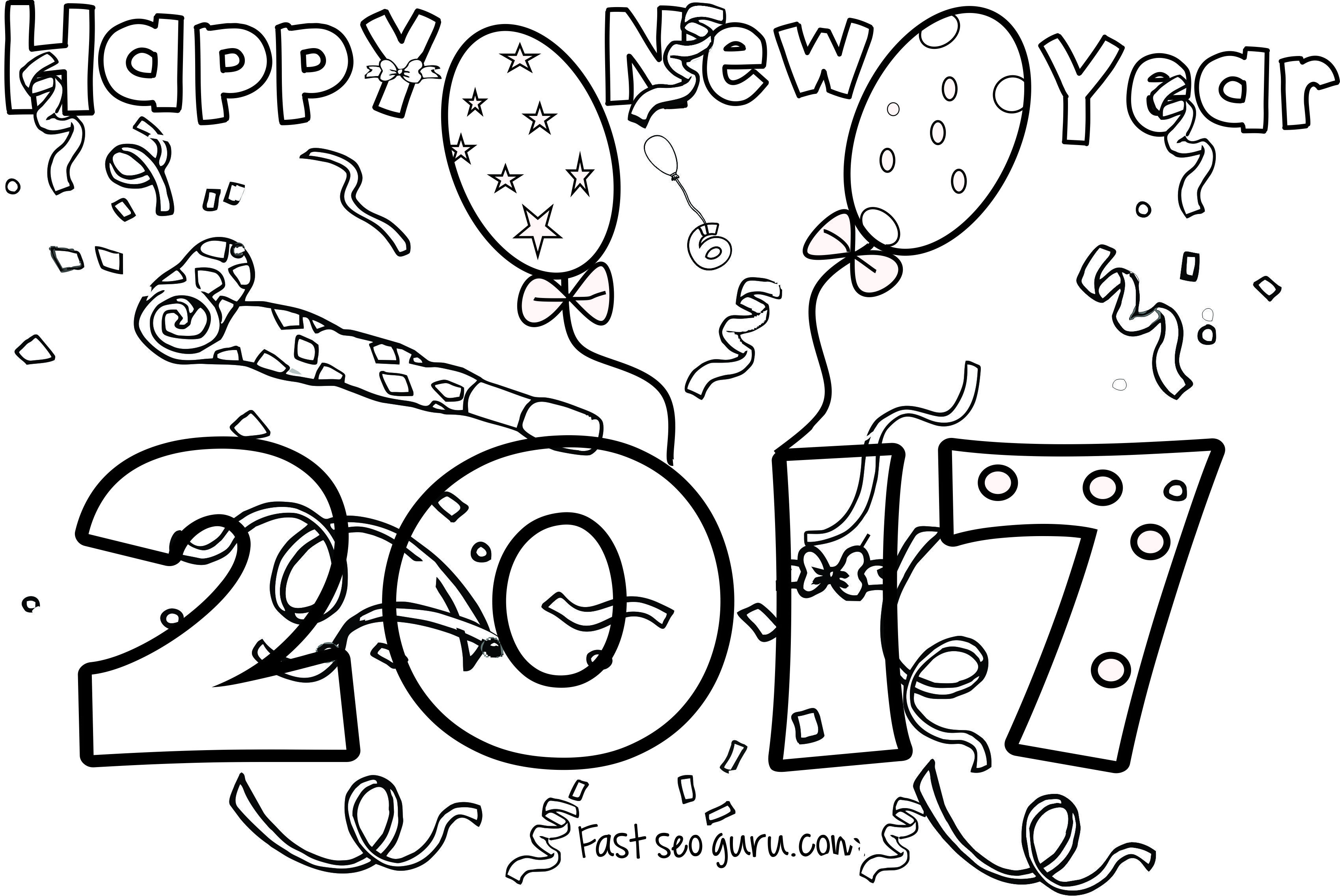 New Years 2017 coloring page for kids | School | Pinterest | Winter ...