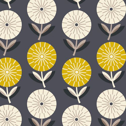 Rachel Cave's debut collection, Bloom, for Dashwood Studio features a myriad of graphic flowers in contemporary muted colours.