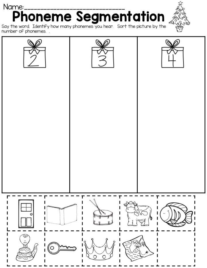 Kindergarten Christmas Worksheets For Math And Ela Phonemic Awareness Activities Phoneme Segmentation Segmenting Words Phoneme activities for kindergarten