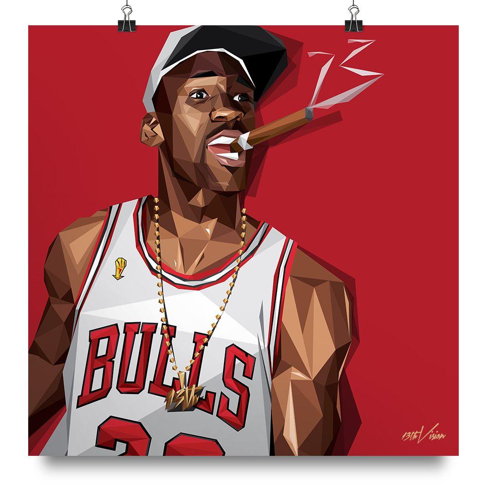 Champs Cigar 13th Vision Michael Jordan Art Michael Jordan Nba Basketball Art