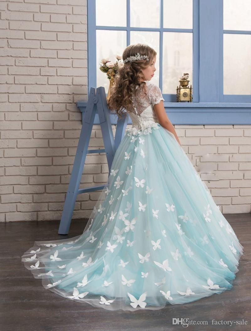 ceabe368cd8 2017 Gorgeous Mint Flower Girls Dresses with Short Sleeves Full Butterfly  Girls Kids Birthday Prom Wears Toddler Pageant Dresses