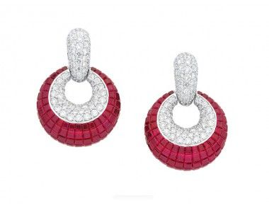 A Pair of Ruby and Diamond Ear Pendants, Rasko « Dupuis Fine Jewellery Auctioneers