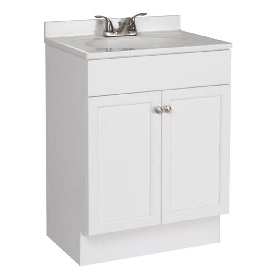 Shop Project Source White Integral Single Sink Bathroom Vanity With Cultured Marble Top Bathroom Sink Vanity Single Sink Bathroom Vanity Lowes Bathroom Vanity