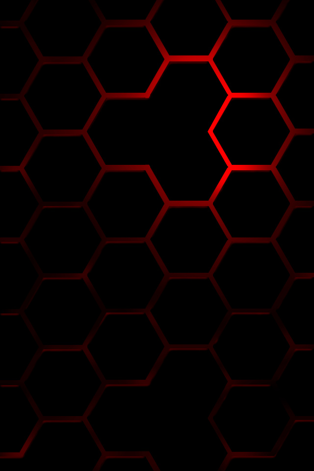 Red Hexagon With Black Ground