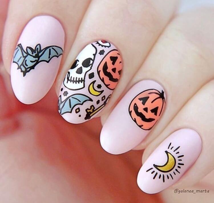 Glitter Acrylic Nails For Halloween Nail Art Designs Short Easy Polish Halloween Nails Halloween Nail Designs Cute Nails