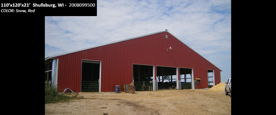 110'x120'x21' Cleary Dairy & Livestock Building in Shullsburg, WI | Colors: Snow, Red,