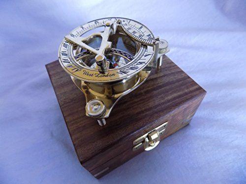 Brass Sundail Compass Antique Vintage Style Maritime W Wooden Box West London