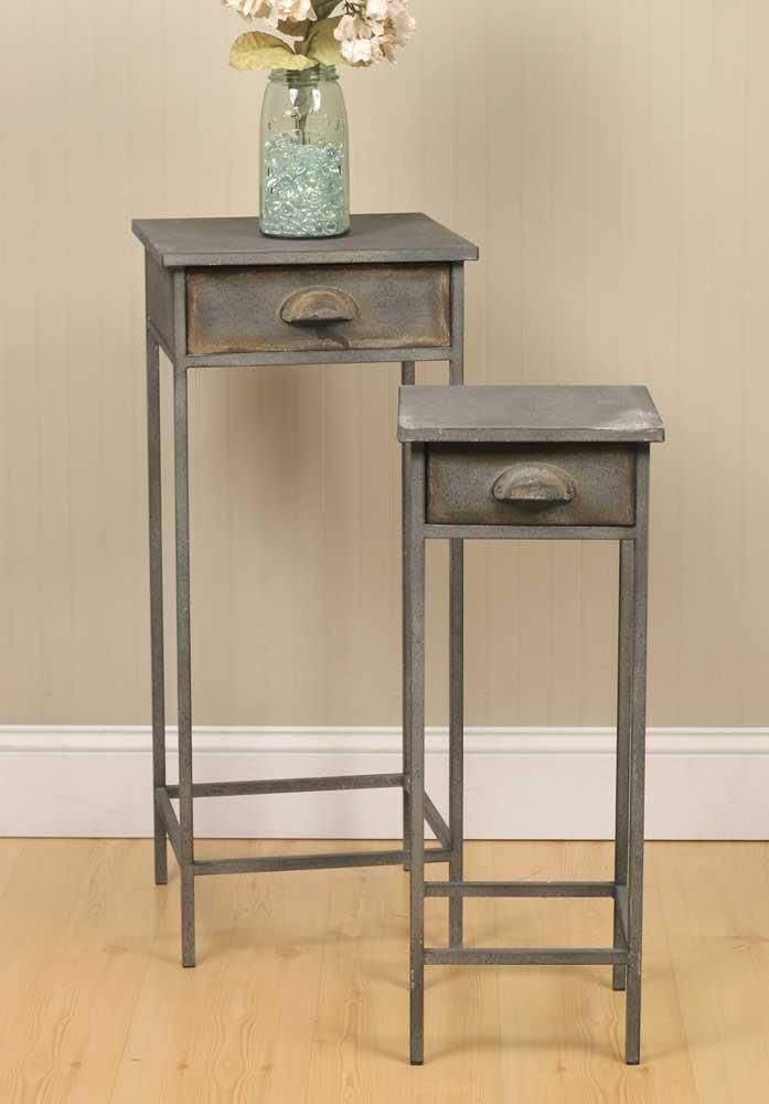 Rustic Industrial Metal Nesting Nightstand Tables Set Of Two