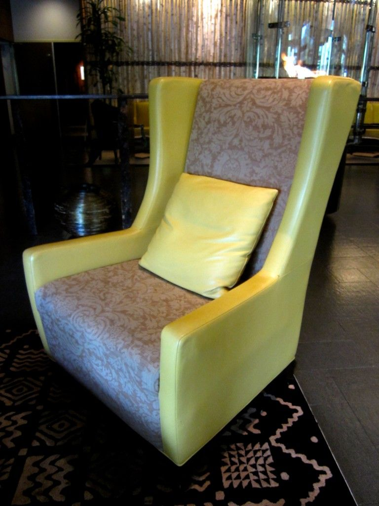 Viceroy Snowmass wing chair chair, chartreuse leather + taupe damask