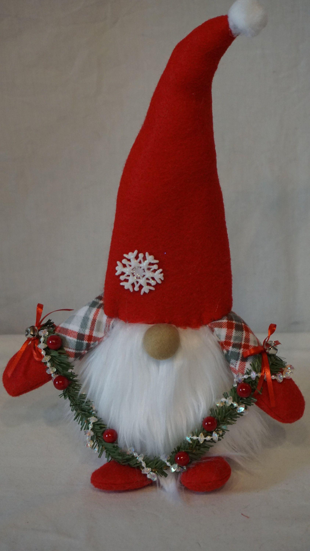 Gnome Winter Gnomes handmade 14 Red Gray Flannel