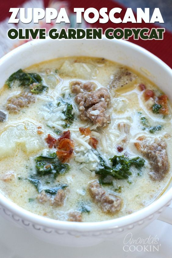Zuppa Toscana is an Olive Garden soup recipe that has sweet Italian sausage, potatoes, bacon, and kale. It's simmered in a chicken broth and topped off with half and half for a delicious finish. #zupptoscana #olivegardenrecipes #copycatrecipes #souprecipes #bacon #kale #potatoes #soup #amandascookin #sausagepotatoes