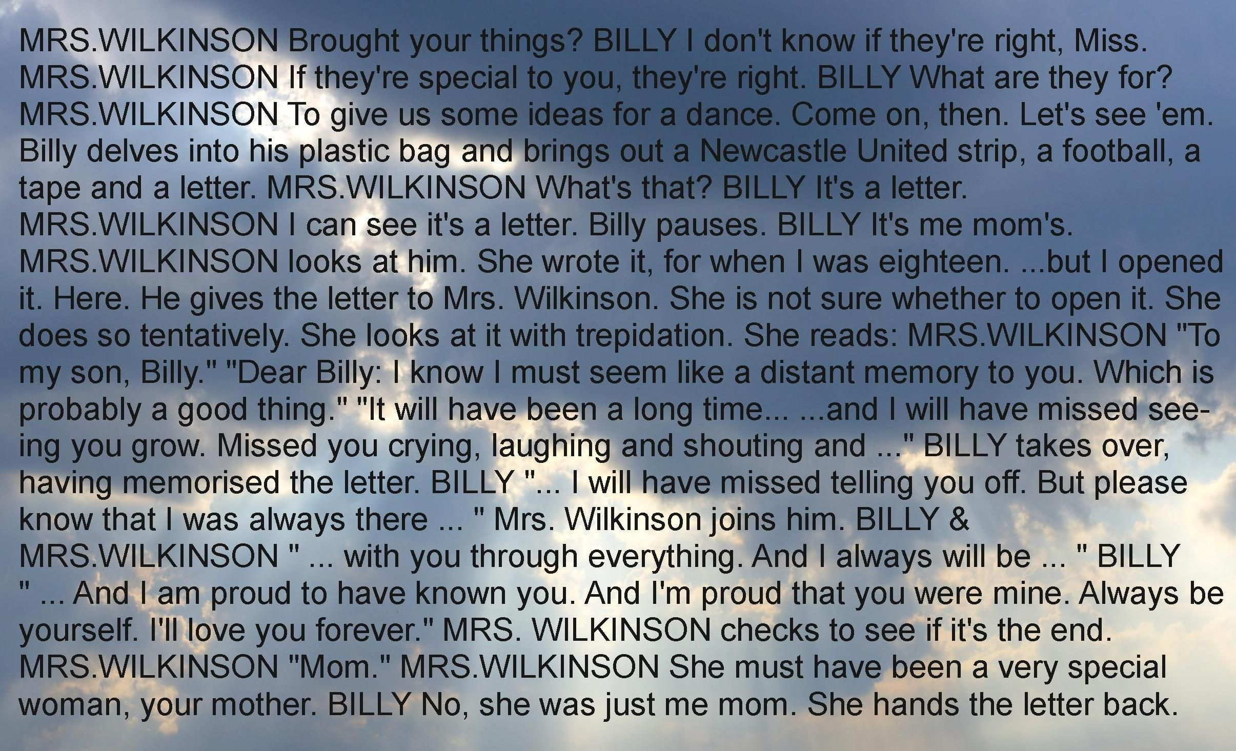 Letter To Mom From Billy Elliot  Inspiration    Billy