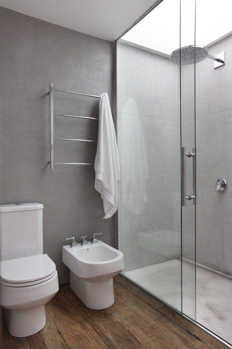 Dark Floor White Vanity Gray Walls White Breadboard Ceiling Wood Floor Bathroom Concrete Bathroom Trendy Bathroom