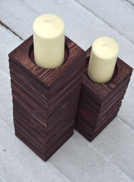 Wood Pallet Candle Holders / Reclaimed Wood Candle Holder Set / Rustic  Upcycled Candle Holder for - Wood Pallet Candle Holders / Reclaimed Wood Candle Holder Set