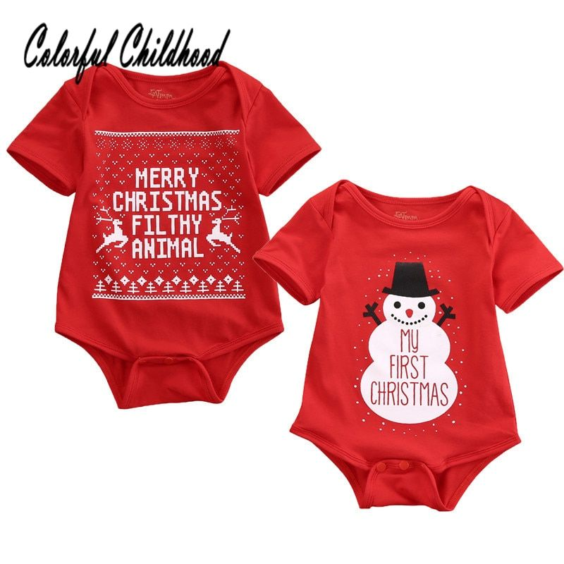 68eac82fa Xmas Baby Clothes Short Sleeve Letter/Santa Printing Jumpsuit For Boy/Girls  Overalls Children Pajamas 0-24m