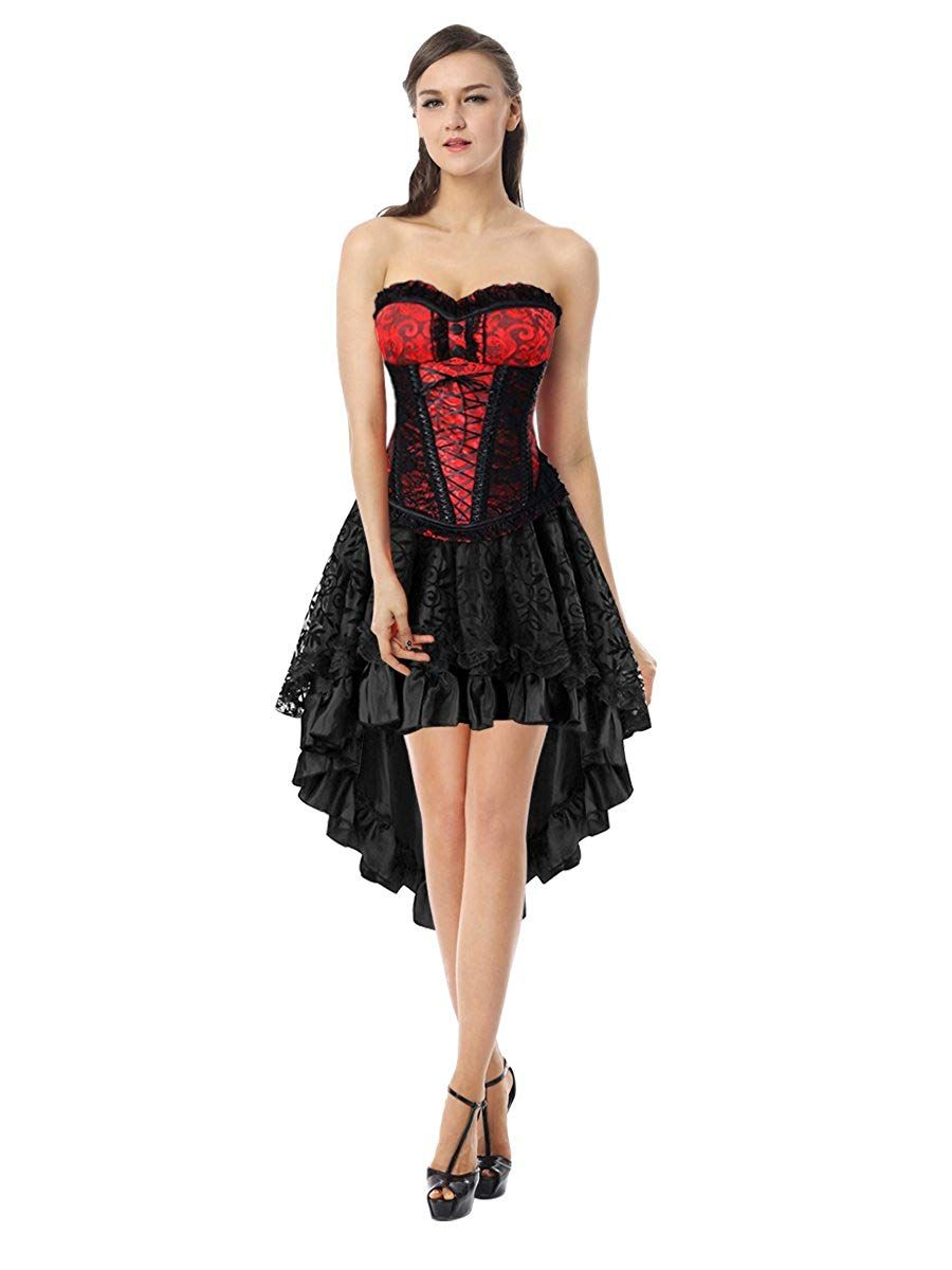 Killreal Women s Halloween Party Masquerade Brocade Lace Gothic Corset  Skirt Set- Romantic goth look . 78579040f