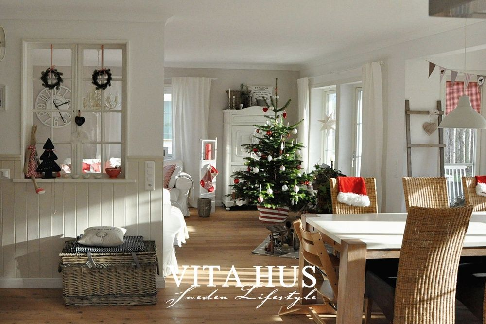 Skandinavisches Wohnen, wohnen in weiss, shabby chic, Schwedenhaus - Gardinen Landhausstil Wohnzimmer