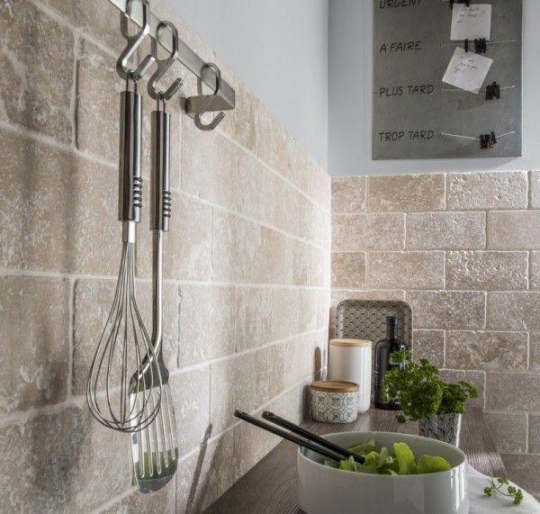 nice Idée relooking cuisine - Crédence carrelage effet pierre - carrelage mur cuisine moderne