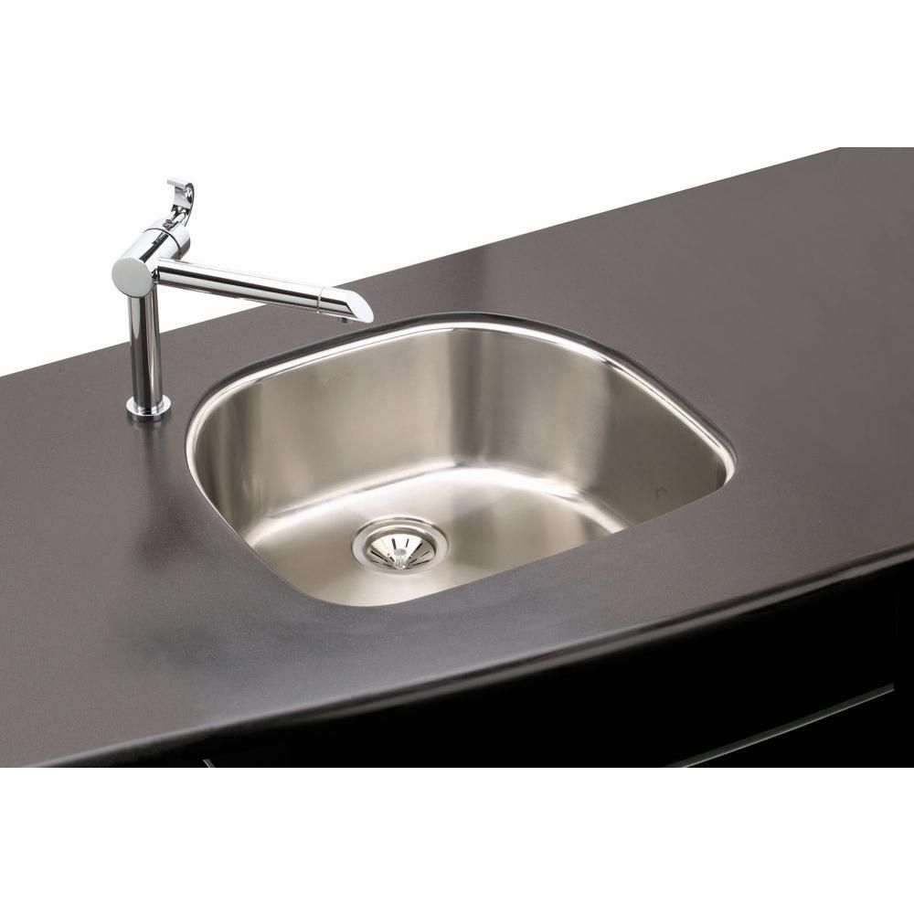 Elkay Undermount Stainless Steel in Rounded Single Bowl Kitchen