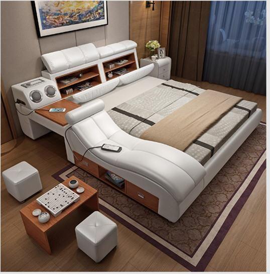 Cheap Modern Bed Frames: Modern Luxury Leather Bed Frames Led Lights Change Modes