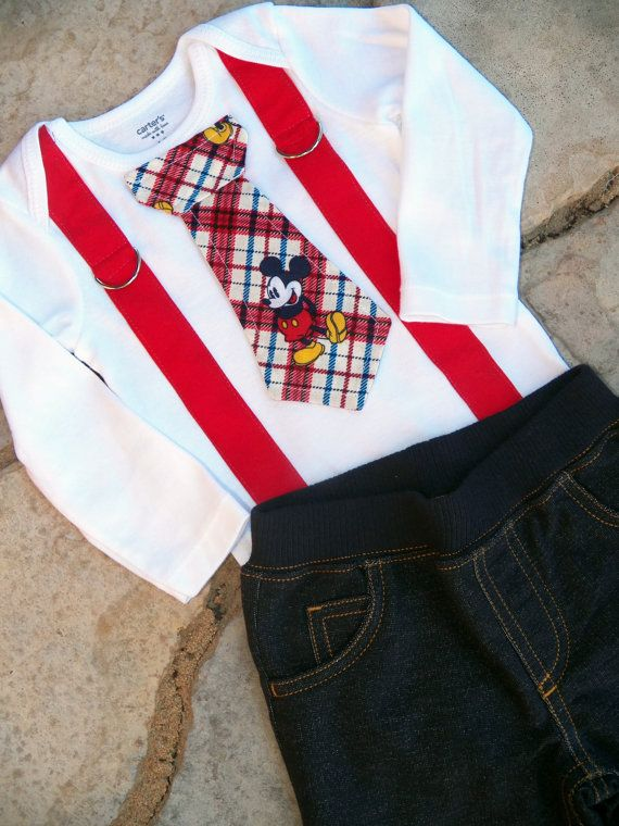 mickey mouse birthday tie and suspender bodysuit by shopantsypants