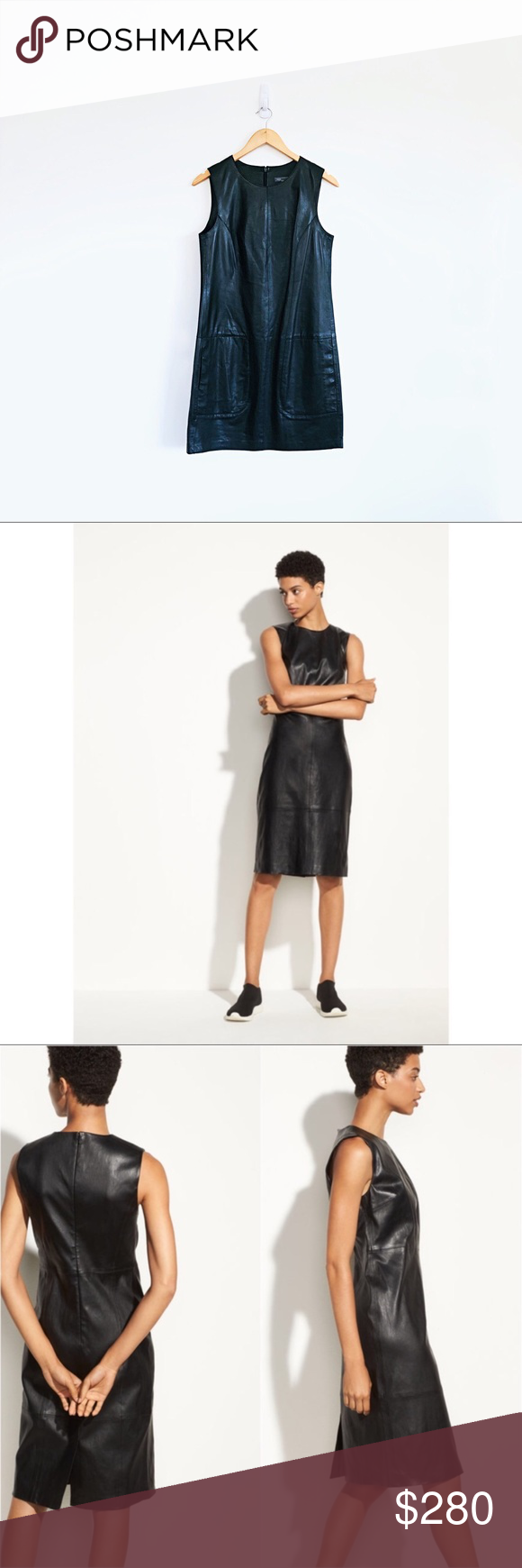 5d95674a435 Vince Sleeveless Authentic Leather Dress Vince Sleeveless Leather Dress A  streamlined silhouette, crafted in supple