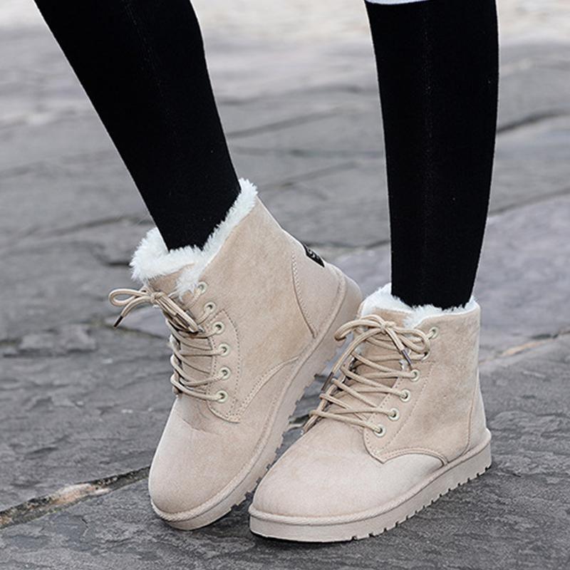 Woman Ankle Boots Lace Up Faux Fur Ladies Flat Antislip Ladies Fashion Winter Autumn Warm Casual Short Shoes