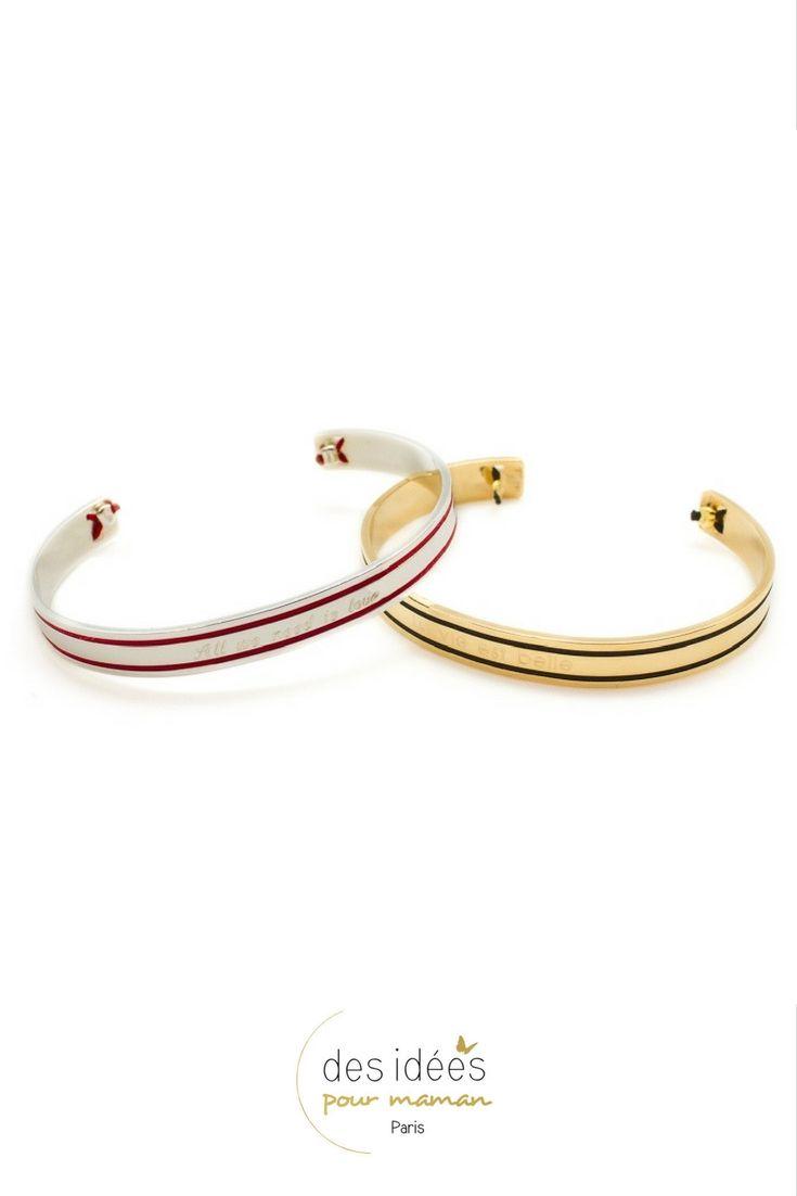 e539139b933fe Bracelet jonc or ou argent Philharmonie à graver. Originalité de cette  association de métal et