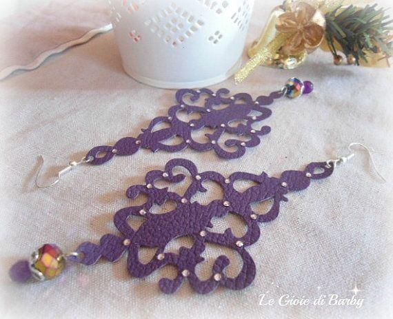 Purple chandelier earrings purple leather by LeGioiediBarby