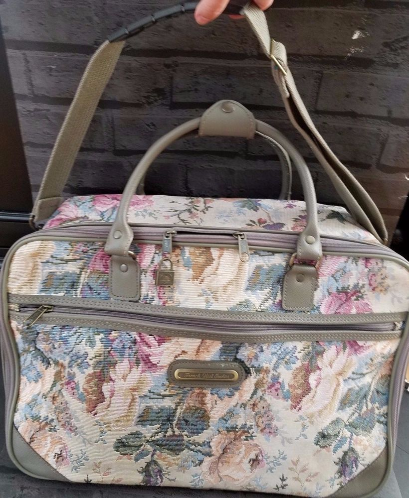 d8e4db603dc Vtg French West Indies Tapestry Grey Carry On Weekender Bag Luggage 19in x  12.5  AmericanTourister