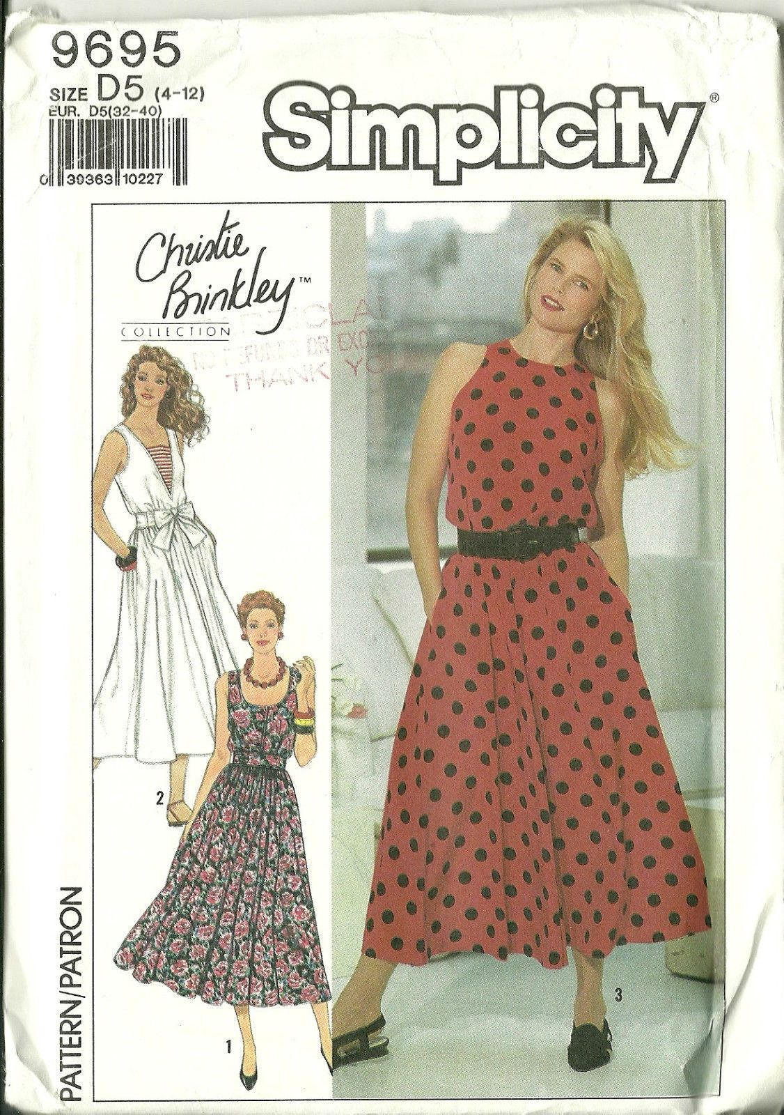 February 2 Happy birthday to Christie Brinkley Simplicity Sewing Pattern 9695