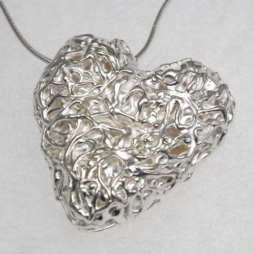 Fine silver hollow heart pendant pendant pinterest fine silver hollow heart pendant aloadofball Gallery