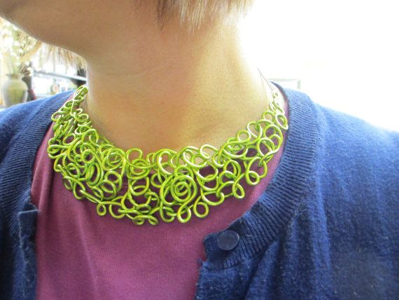 Collar Necklace Lime Green Lacy Statement Choker Spring Chartreuse Bronze Wire Art Jewelry. $36.00, via Etsy.