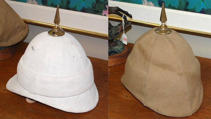 85731a9f15a45 Wicker sun helmet complete with cover. British Army Uniform