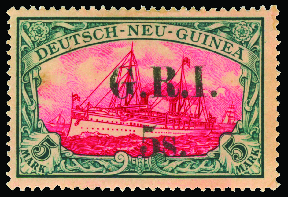 """Deutsch Neu Guinea 5 (15) 1914 5' on 5M slate and carmine Kaiser's Yacht with """"G.R.I."""" surcharge, first setting, pos 3"""