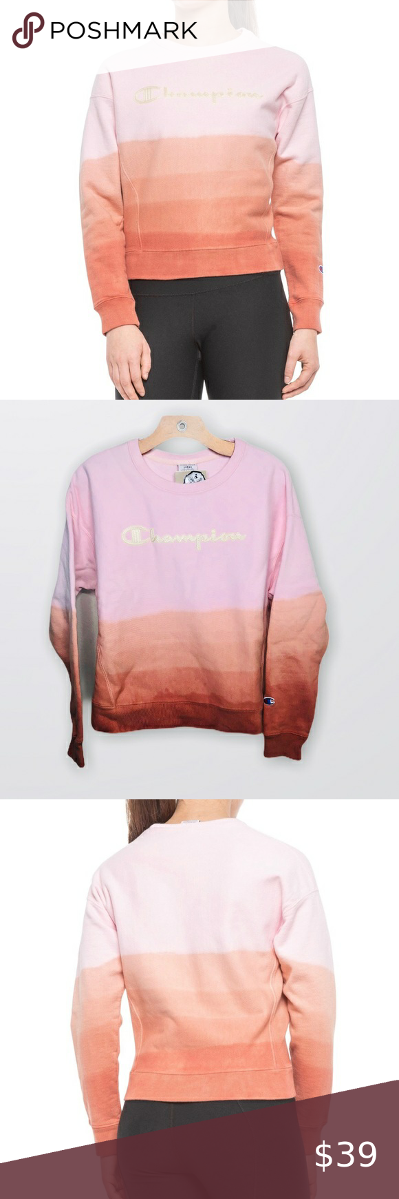 Champion Pink Ombre Sweatshirt Crew Neck Small Nwt Ombre Sweatshirt Pink Ombre Pink And Orange [ 1740 x 580 Pixel ]