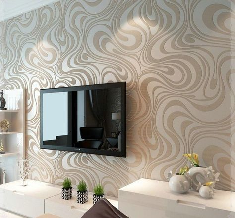 Tapete mit Motiv in Cappuccino hinter Fernseher Wohnzimmer