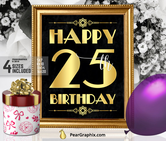 Happy 25th Birthday Sign Printable Decor Roaring 20s Gatsby Party Decoration