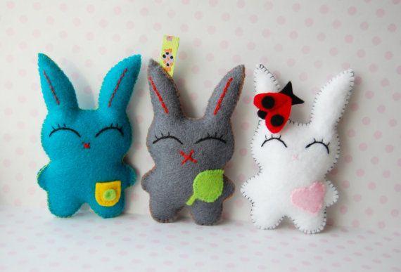 Set of 3 dreaming bunnies hand sewn cute felt  plush by Mielamiela, $14.55