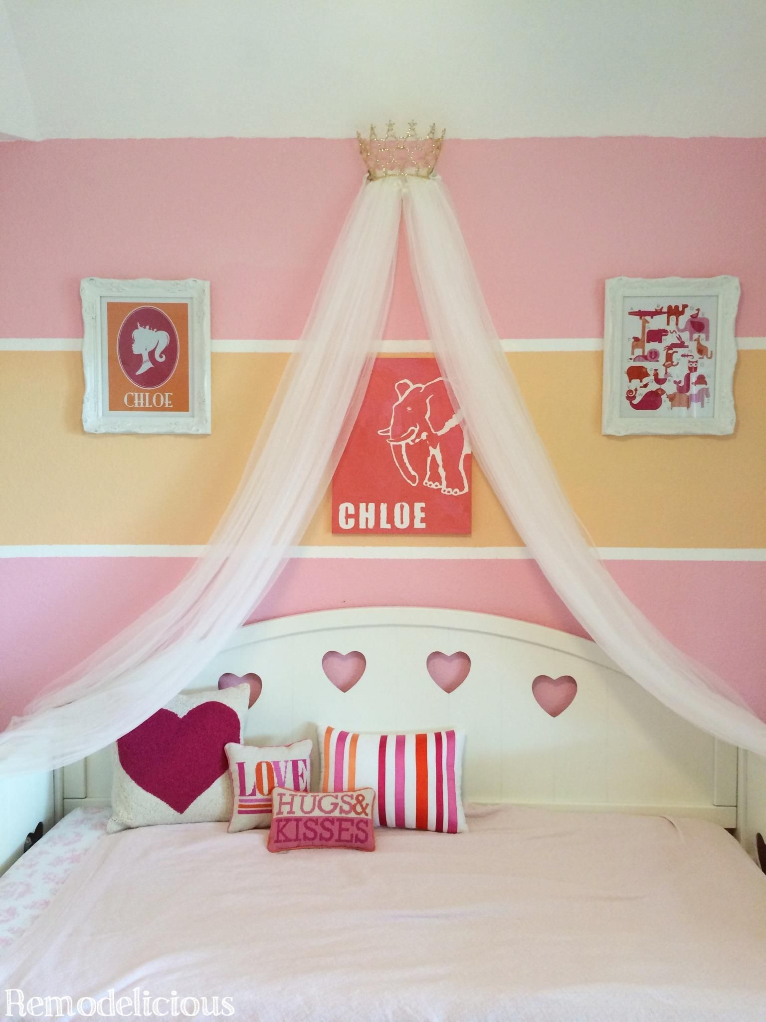 Diy Princess Crown Bed Canopy From Upcycled Pageant Crown Remodelicious Princess Bed Minimalist Kids Room