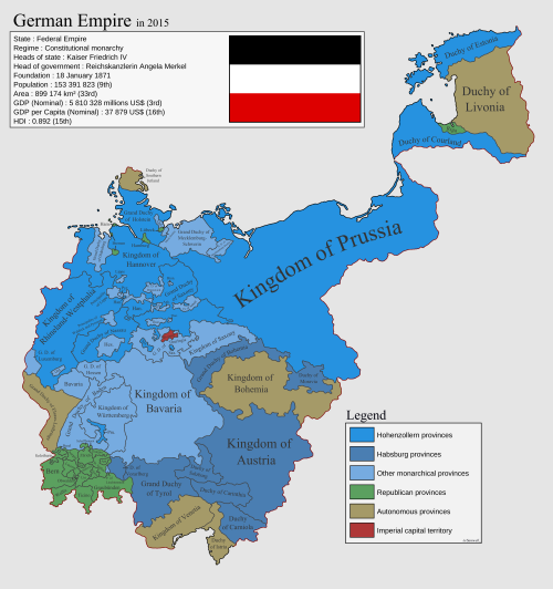 A Counterfactual Map Of The German Empire In Historia Y - Germany population map 2015