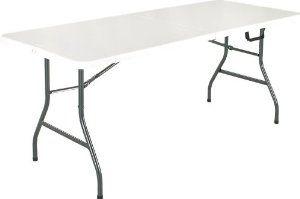 Duragood Fold In Half 8 Foot Rectangular Plastic Folding Utility Table Lifetime Warranty White By Duragood 99 95 96 X 30 H Folding Table Cosco Furniture