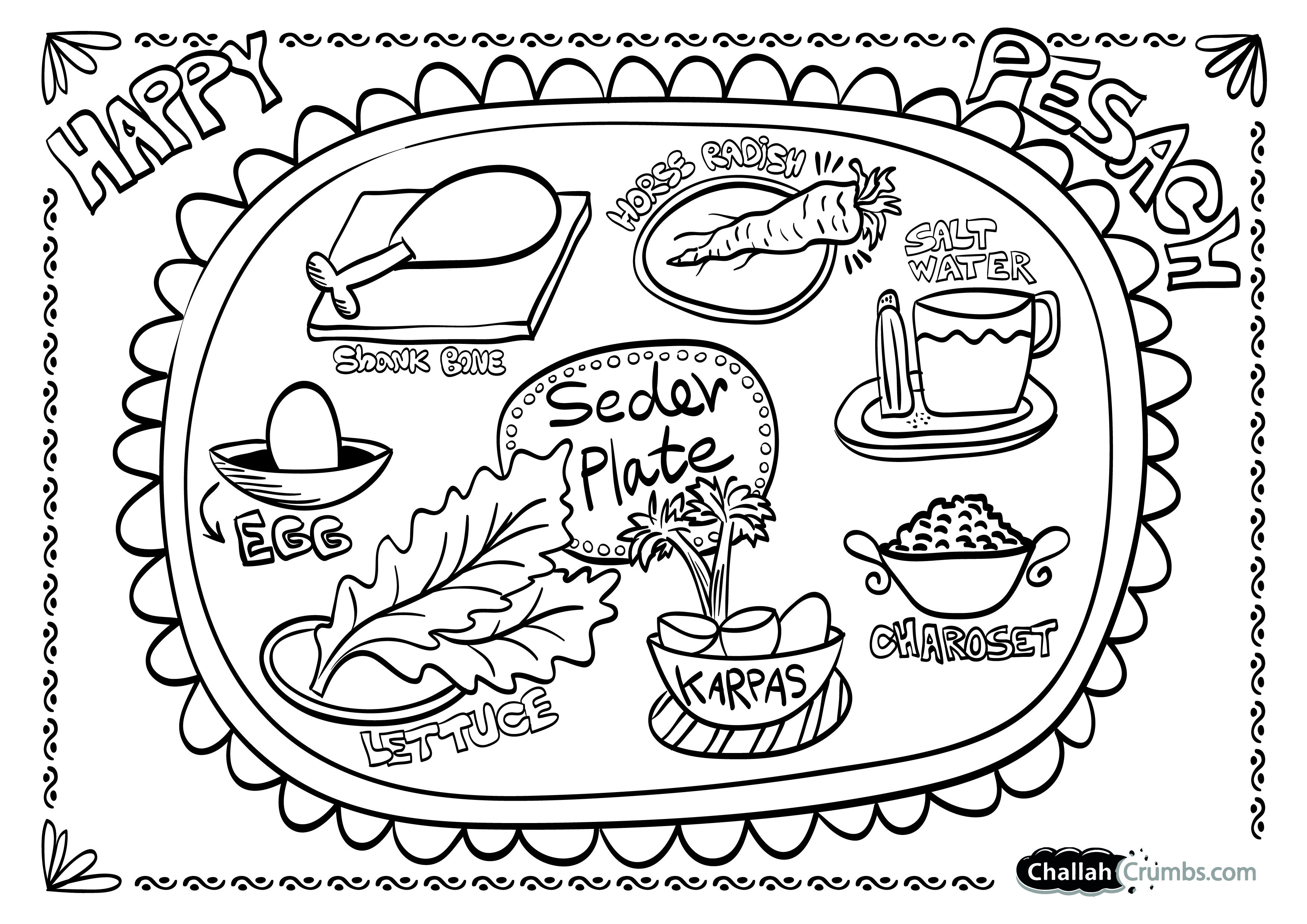 Coloring Page Seder Plate Challah Crumbs Seder Plate Passover Crafts Seder