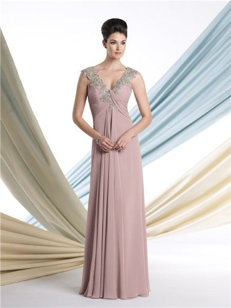 Sheath V Neck Cap Sleeve Empire Waist Nude Chiffon Mother Of The ...