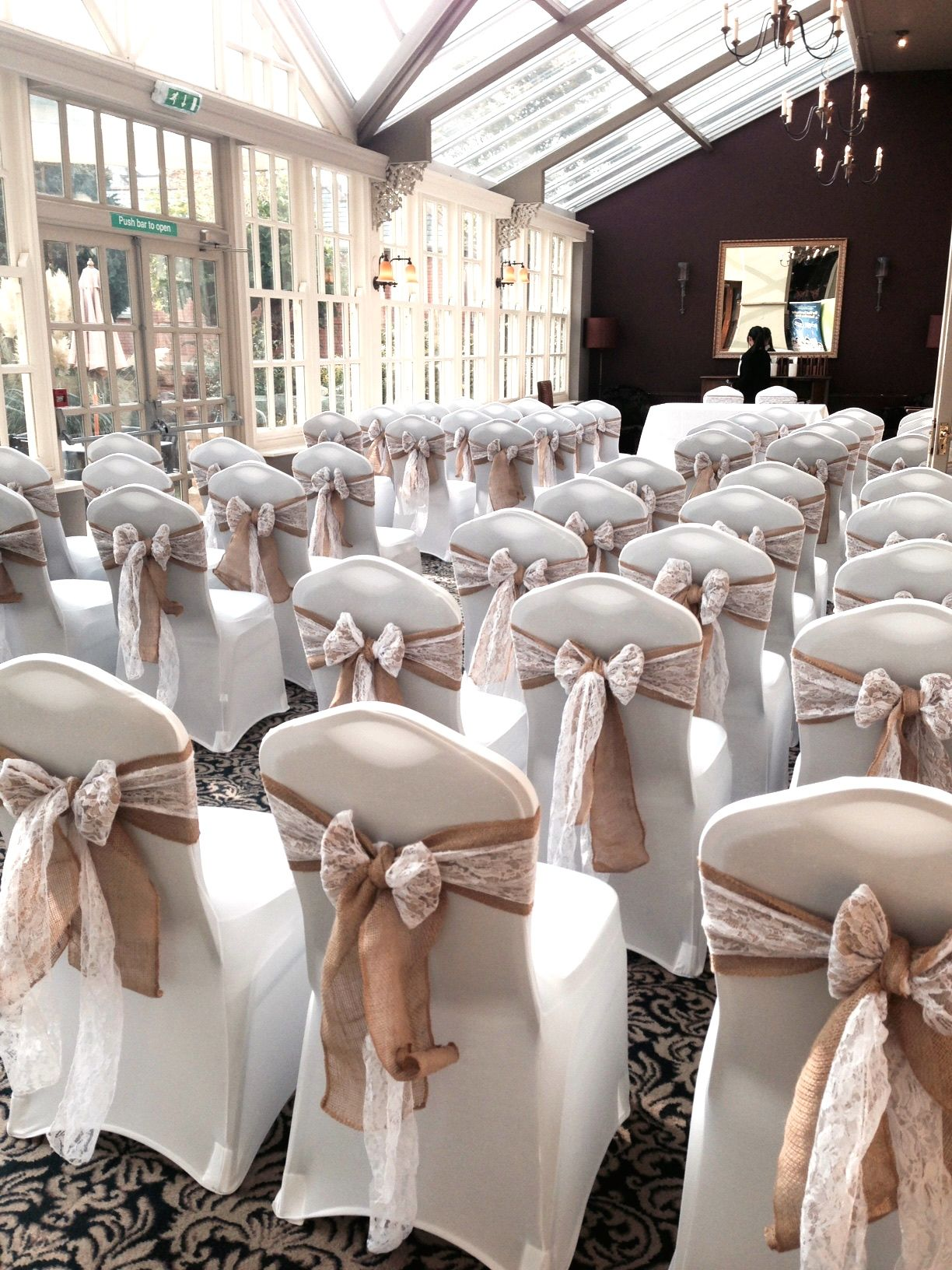 chair covers yeovil round wicker uk hessian and lace sashes at the manor hotel wedding decor by