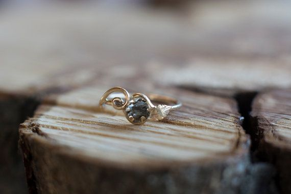 53225fe34eb58 Meteorite Engagement Ring with 14K YellowGold and Campo del Cielo ...