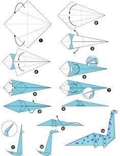 tuto origami dinosaure