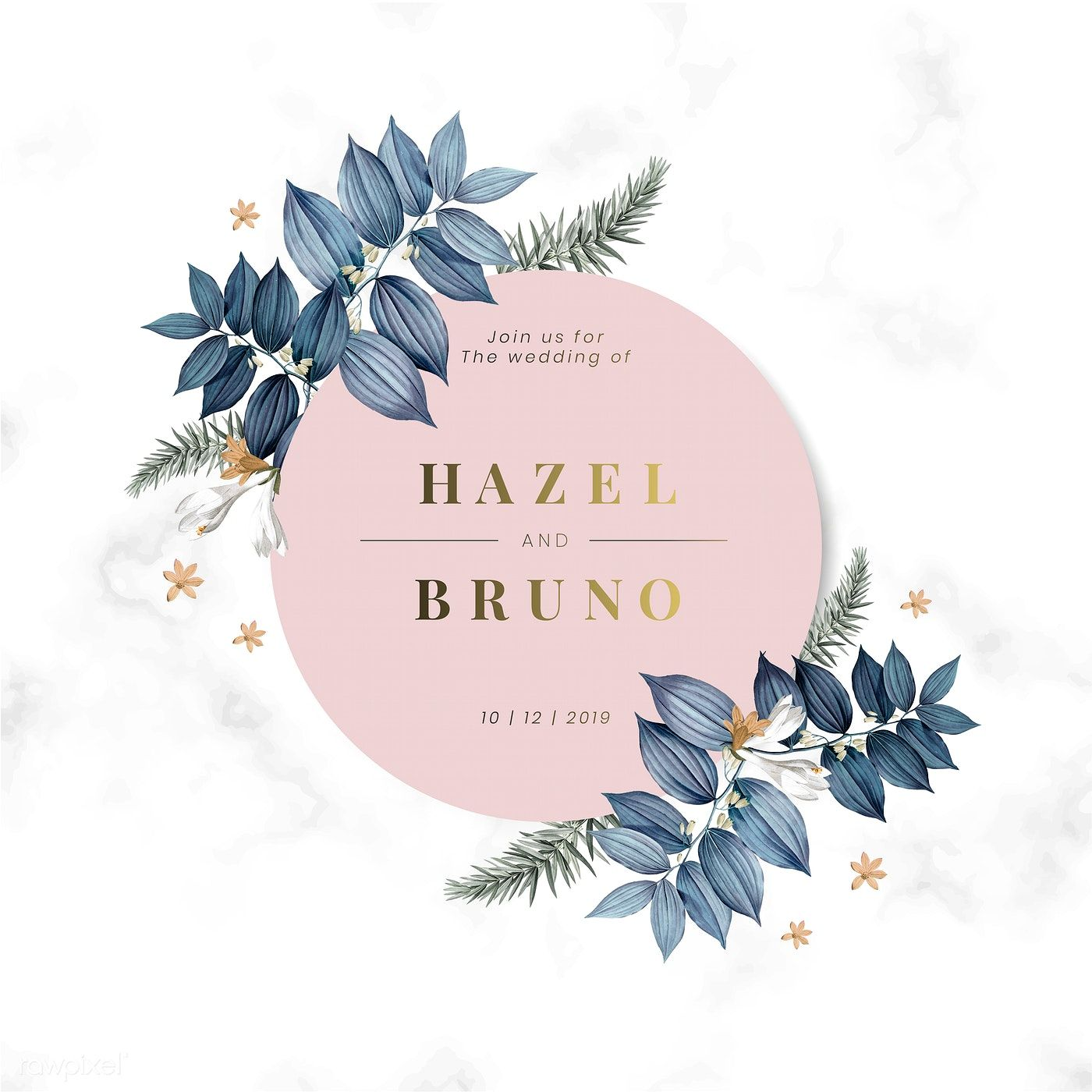 Download Premium Illustration Of Blue Floral Wedding Invitation Card Wedding Invitation Card Design Floral Wedding Invitation Card Wedding Invitation Cards